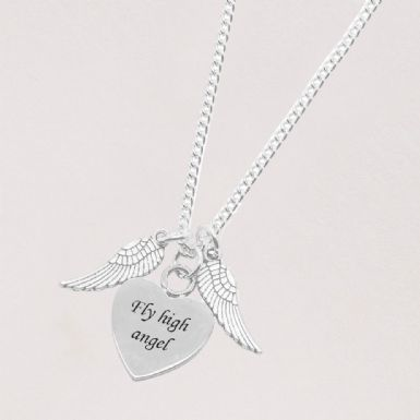 Angel Wings Necklace with Engraving | Someone Remembered